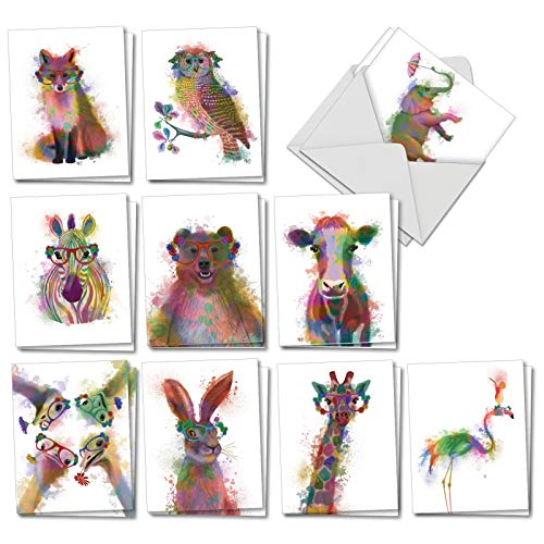 (Funky Rainbow Wildlife - 20 Watercolor Blank Note Cards with Envelopes (4 x 5.12 Inch) - Boxed All Occasion Animal Cards - Cute Assorted Notecard Set for Kids (2 Each, 10 Designs) AM4948OCB-B2x10)