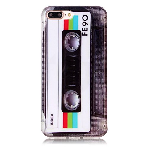 Sunvy iPhone 7 plus Case 3D 80s Retro Mix Tape Scratch Resistant Grip Ultra Light TPU Silicone Protective Cover for 5.5 inch iPhone 7 plus with a Screen Protector