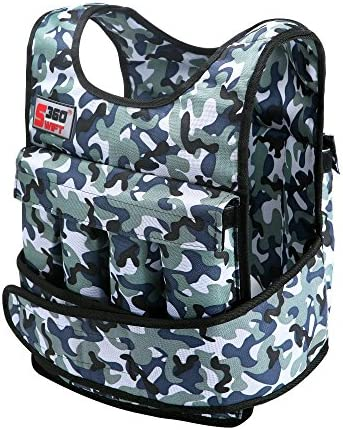Swift360 Weighted Vest for Men 20lbs 40lbs cross-fit Training, Exercise and Jogging, Camouflage