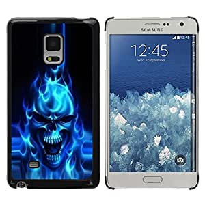 Be Good Phone Accessory // Dura Cáscara cubierta Protectora Caso Carcasa Funda de Protección para Samsung Galaxy Mega 5.8 9150 9152 // Flaming Blue Goth Skull Skeleton