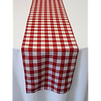 ArtOFabric Red And White Checkered Polyester Table Runner 13 X 72 Inch.
