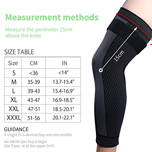 Full Leg Sleeves Long Compression Leg Sleeve Knee Sleeves with Belt, for Man Women Basketball, Arthritis Cycling Sport Football, Reduce Varicose Veins and Swelling of Legs(Black-Updated,M,Pair)
