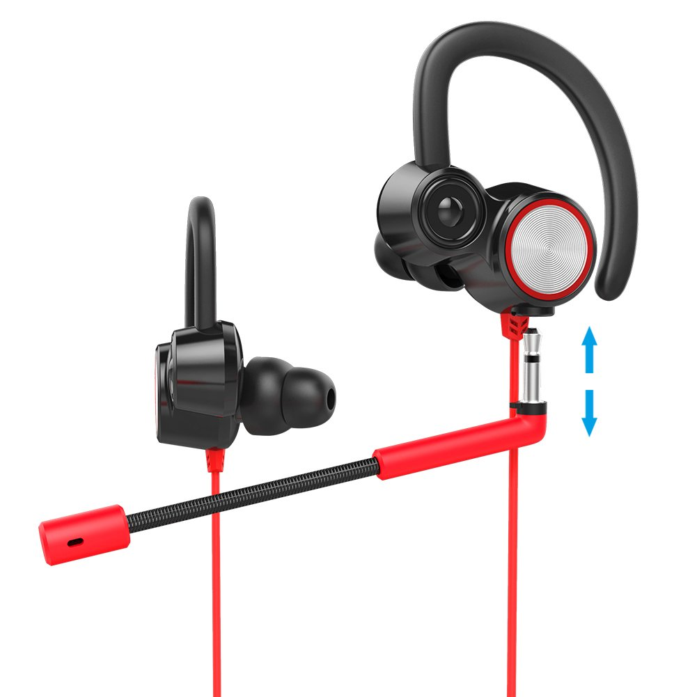 Professional Mobile Gaming Headset, Headphones with Dual Microphone, Dual Driver,Noise Cancelling, High-Fidelity Stereo Earphones, Comfort-Fit for Smart Phone/PC/Nintendo Switch/XboxOne/PS4 (Red)
