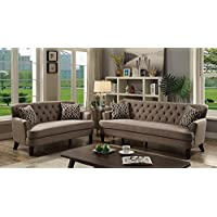 Velveteen 2 Pieces Sofa Set With Accent Pillows Light Brown
