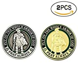 zcccom 2 pcs Set of Challenges Coins Deluxe Collector's Set | Armor of God Challenge Coin - Gold and Silver - Collector's Medallion - Jewelry Quality | Officially Licensed By (Gold and Silver)