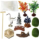 Deluxe Zen Garden Accessories - Tabletop Meditation Rock Sand Garden Kits with Moss rakes Ceramic Cranes Bridge (Set of 12)