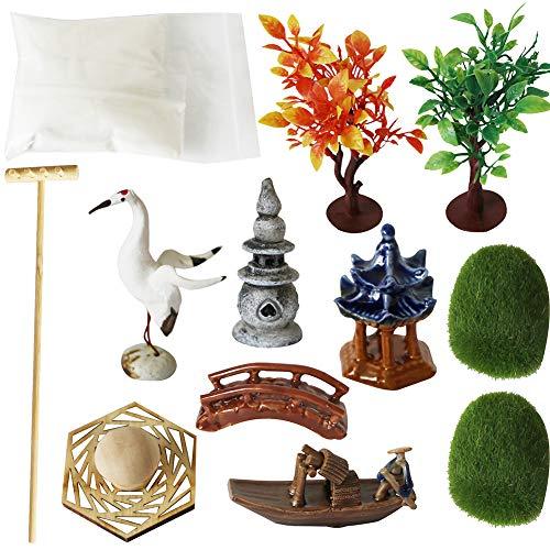 Deluxe Zen Garden Accessories - Tabletop Meditation Rock Sand Garden Kits with Moss rakes Ceramic Cranes Bridge (Set of 12)