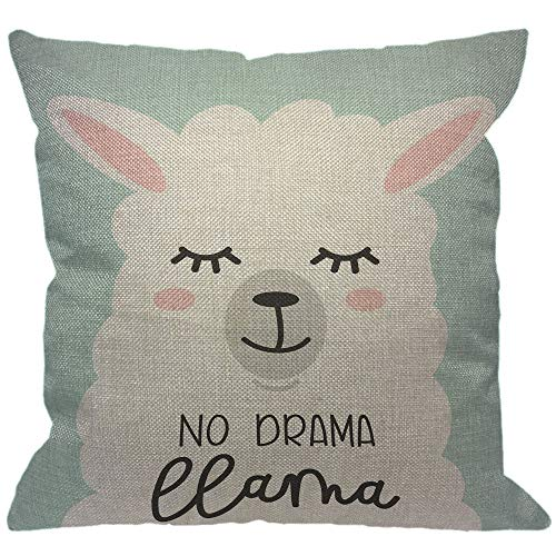 HGOD DESIGNS No Drama Llama Throw Pillow Cover,Cartoon Alpaca No Prob Llama Motivational and Inspirational Quote Sleep Eyelash Decorative Pillow Cases Cushion Covers for Home Sofa Couch 18x18 inch]()