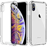 MoKo Compatible with iPhone Xs Max Case, Crystal Clear Reinforced Corners TPU Bumper + Rugged Hybrid Transparent Anti-Scratch Panel Cover Fit with Apple iPhone Xs Max 6.5 inch 2018 - Crystal Clear