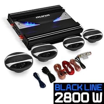 auna 4.0 Auto Lautsprecherset Komplett HiFi Set Black Line 400 2800W Endstufe Verst/ärker Boxen