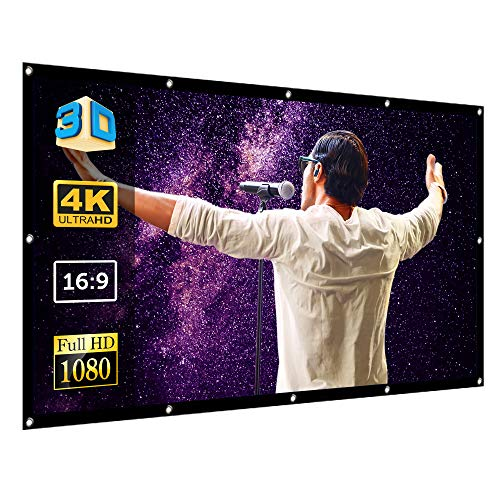 Super Star Vision 120 Inch Projector Screen - Indoor and Outdoor Movie System for Bedroom, Room, Backyard, Home Theater - Anti-Crease Spandex - 16:9 Front and Rear Projection - 4K, HD TV, 1080P Video