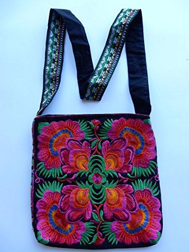 Borsa a spalla / sacchetto di tornitura con motivo floreale Hmong e modelli etnici