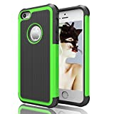 iPhone 5 Case iPhone 5s Case Akimoom [Jade Series] PC + Silicone Trendy Defender Nonslip Scratch Resistant Dust-proof Heavy Duty Hybrid Dual Layer Hard Protective Case for iPhone 5(Black/Green)