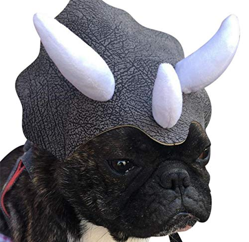 iBaste Cat Halloween Costumes Pet Triceratops Dog Dinosaur Hat Pet Cat Small Dog Hat Photo Prop]()