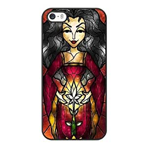 Grouden R Create and Design Phone Case, Mother Gothel stained glass Cell Phone Case for iPhone 5 5S SE Black + Tempered Glass Screen Protector (Free) LPC-8033771
