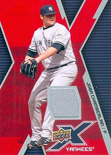 Joba Chamberlain player worn jersey patch baseball card (New York Yankees) 2009 Upper Deck X #UDXJ-JC - Joba Chamberlain Player