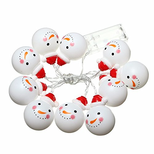 [Christmas Xmas LED String Fairy Light Christmas Xmas Tree Lamp Décor-1.2M 10 LED Snowman-Battery Powered (White] (Super Mario Flower Power Costume)