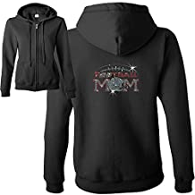 Sports Apparel Football Mom Shirts Rhinestone Zip Up Hooded Sweatshirt Black 2XL