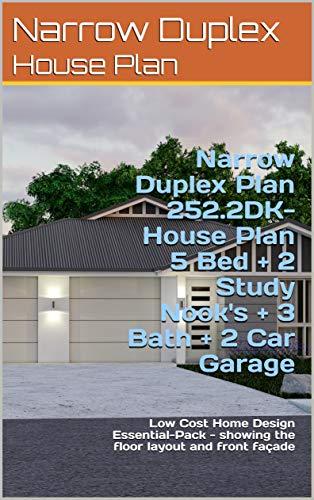 Amazon.com: Narrow Duplex Plan 252.2DK- House Plan 5 Bed + 2 ... on house front doors, modern garage doors design, home luxury house design, front entrance design,