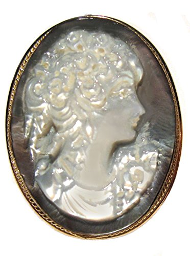 Cameo Pin Pendant Enhancer Master Carved Mother of Pearl Reflection of Youth Italian