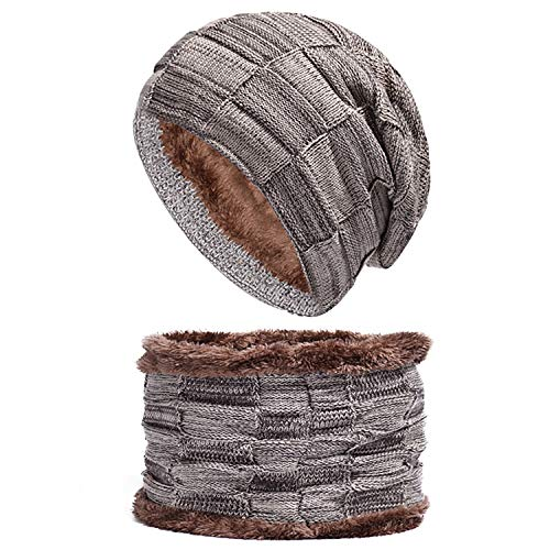 (Spikerking Mens Winter Knitting Wool Warm Hat Daily Slouchy Hats Beanie Skull Cap (One Size, Khaki(hat+Scarf)))
