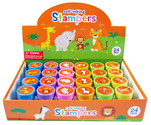 TINYMILLS 24 Pcs Zoo Jungle Safari Animals Stampers for Kids