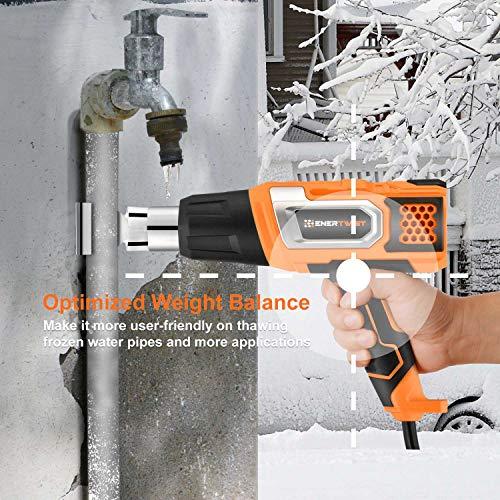EnerTwist Heat Gun 1500 Watt Variable Temperature Control Hot Air Tool Kit Heating Protect for Shrink Wrap, Vinyl, Paint Removal, Wiring, Soldering, Crafts, Automotive, Tubing, Electronics Repair by ENERTWIST (Image #7)