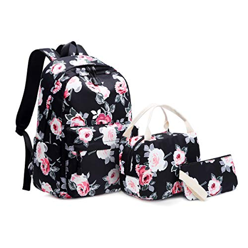 Idubai School Backpack Set with Lunch Box and Pencil Case,Fashion School Bags Floral Bookbags Set Lightweight 14 Inch Laptop Backpacks Casual Daypack 3 in 1 for Girls Teens Kids Students