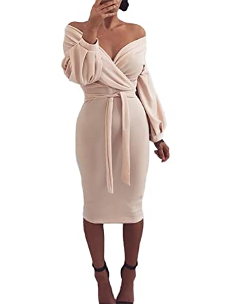 429b8207382c Ninimour Womens Off Shoulder Twisted Waist Tie Sexy Midi Dress S Nude