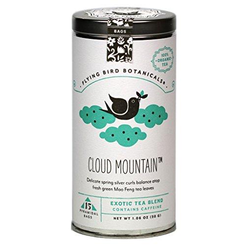 Flying Bird Botanicals Cloud Mountain - Organic Mao Feng Green Tea Blend (15-Bag Tin) - Huangshan Maofeng Green Tea
