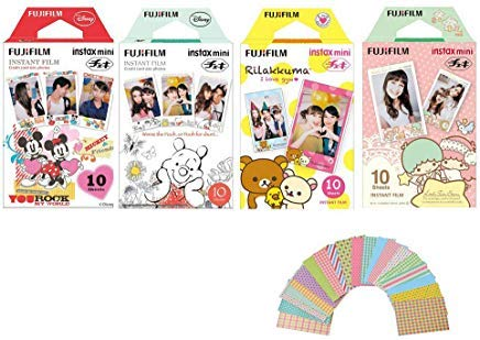 Fujifilm Instax Mini Film 4 Pack Bundle! Disney MICKEY & Friends, Pooh, RiLakkuma, Little Twin Stars 10 X 4 = 40 Sheets Assort Set +  Photo Frame Stickers 20 -