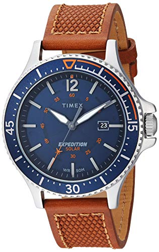 Timex Men's TW4B15000 Expedition Ranger Solar Tan/Blue Leather Strap Watch - Leather Brass Watch Wrist