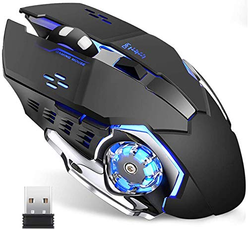 Wireless Gaming Mouse with Unique Silent Click, Breathing Backlight, 2 Side Buttons, (2400, 1600, 1200, 800) DPI…