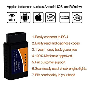 Giveet Car WIFI OBD 2 OBD2 OBDII Code Reader Scan Tool, Wireless Scanner Adapter Check Engine Diagnostic Tool for IOS, Android and Windows Smartphone