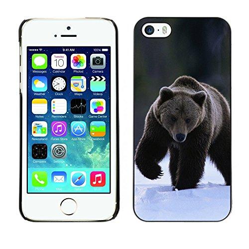 Omega Case PC Polycarbonate Cas Coque Drapeau - Apple iPhone 5 / 5S ( The Winter Grizzly Bear )
