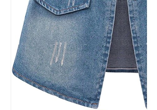 Azul Cintura Fiesta Azul Primavera Grandes Bolsillos Larga Chicas Otoño Mujer Parkas Vaqueras Alta Coat Desgarrado Tallas Abrigos Chaqueta Casual Cremallera Chaquetas Denim Manga Outcoat Jeans Clásico T8C4wn