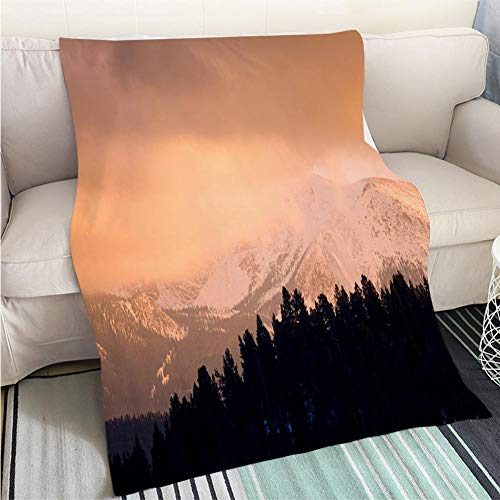 (BEICICI Super Soft Flannel Thicken Blanket Pikes Peak Sunset in Winter Sofa Bed or Bed 3D Printing Cool Quilt)