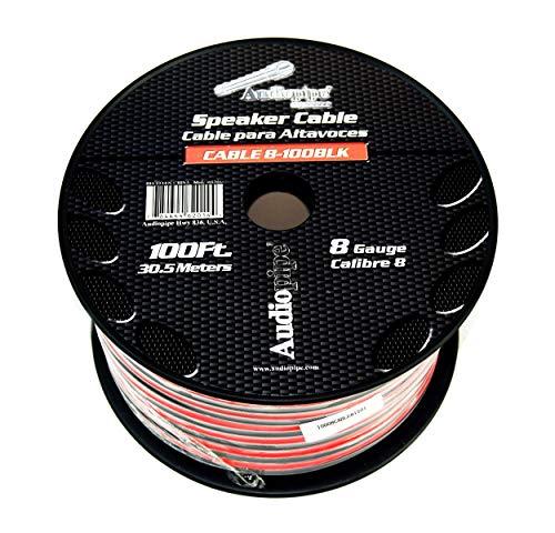 8 GA Gauge Red Black 2 Conductor Speaker Wire Audio Cable Audiopipe 100 Feet