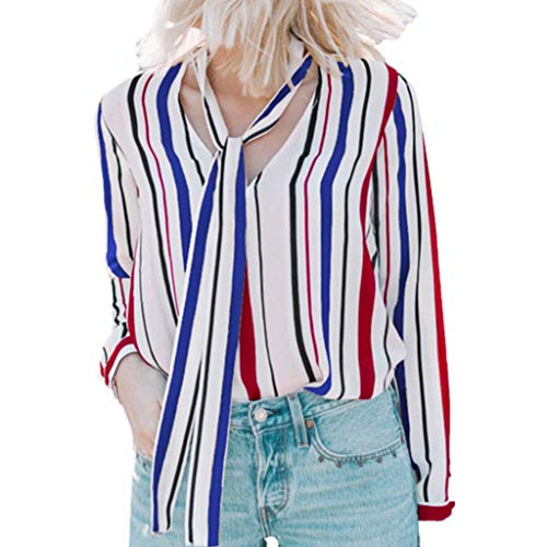 (Sherostore ♡ Womens Casual V Neck Striped Cuffed Sleeve Button Down Collar Summer Chiffon Blouses Shirts Tops)