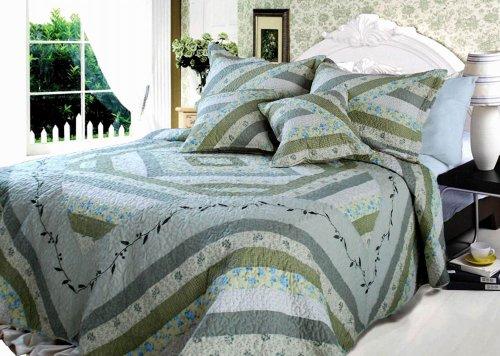 DaDa Bedding DXJ101080-1 Evergreen Forest Cotton Patchwork 3-Piece Quilt Set, Twin, (Pattern Cotton Puff)