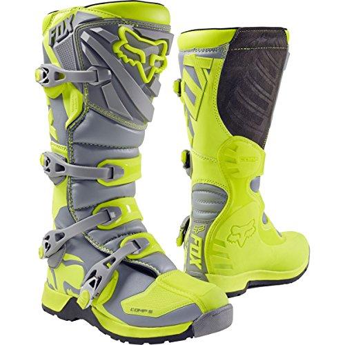 2017 Fox Racing Youth Comp 5 Boots-Yellow/Grey-Y8 by Fox Racing
