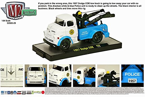 1957 Dodge COE Police Field Unit (Blue & White) M2 Machines Auto-Trucks Series 2014 Castline Premium Edition 1:64 Scale Die-Cast Vehicle (14-22)
