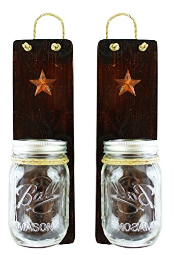 Set of 2 - Primitive Country Decor - Candles Holders, Vases, Utensil Caddy, Bathroom Organizer - #1 Housewarming Wedding Shower Gift (Dark Honey) (Country Primitive Candles)