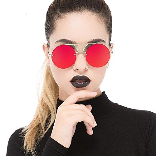 Fotograma Gold Estilo Gafas Unisex De Mujer Punk Gris Color Negro Red Sin Metal TIANLIANG04 Sol AnUXqq