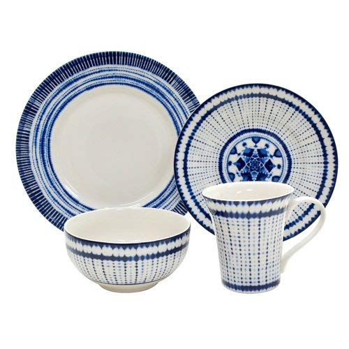 (222 Fifth Shibori 16 Piece Porcelain Dinnerware Set with Round Plates: Service for 4, White/Blue)