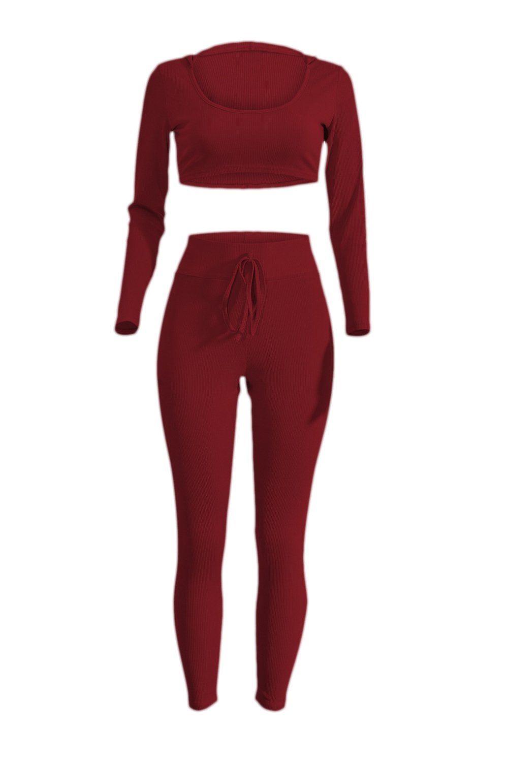 YACUN Women's 2 Pieces Sets Long Sleeve Crop Tops Tight Pants Suits CAQMfs17072513