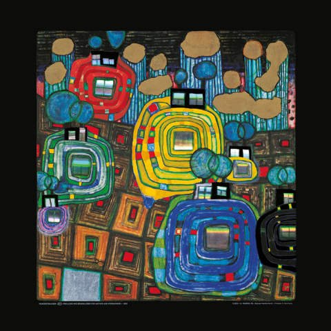 - kunst für alle Art Print/Poster: Friedensreich Hundertwasser Pavillions and Bungalows for Natives Picture, Fine Art Poster, 18.9x18.9 inch / 48x48 cm