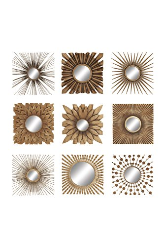 Deco 79 60930 Gold Metal Wall Decor with Round Mirrors, Set of 9, 23