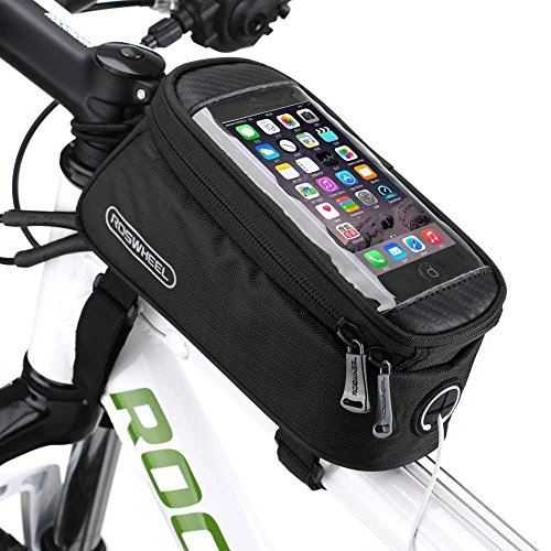 Bicycle Frame Front Tube Beam Bag Transparent PVC Cycling Pannier Pouch Basket for 5.5 inch Mobile Phone Screen Touch Holder