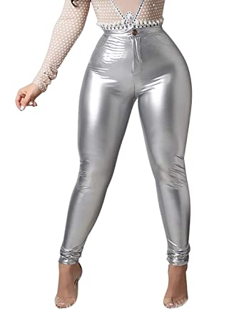 316bb32b57865 Women Bodycon PU Long Pants Sexy High Waist Skinny Leather Coated Leggings  Zipper Button Fleece Lined Slim Fit at Amazon Women's Clothing store: